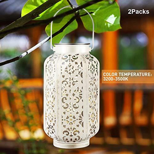 YUNLIGHTS Solar Lanterns Hanging Solar Lights Outdoor Solar Powered Lantern LED Lanterns Decorative lamp for Garden/Patio/Hallway, Waterproof, 8-10h Working Time, Warm White, 2 Pack