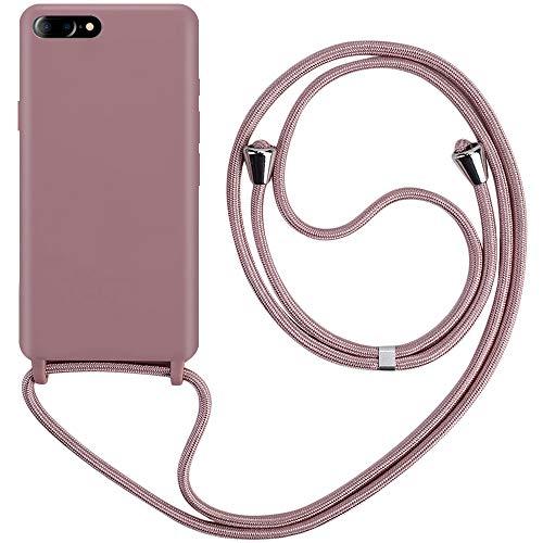 CLM-Tech Carcasa con Cuerda para Colgar Compatible con Apple iPhone 7 Plus/iPhone 8 Plus - Funda Silicona con Cordon para Llevar en el Cuello, Oro Rosa