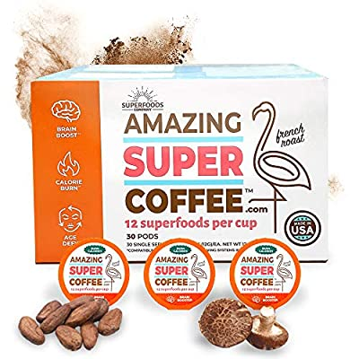 Super Amazing Coffee -- 30 Servings -- 12 Superfoods Per Cup - Single-Serve Pods - All Natural -- Boost Brain Power, Burn Calories, Age Defying & Control Cravings