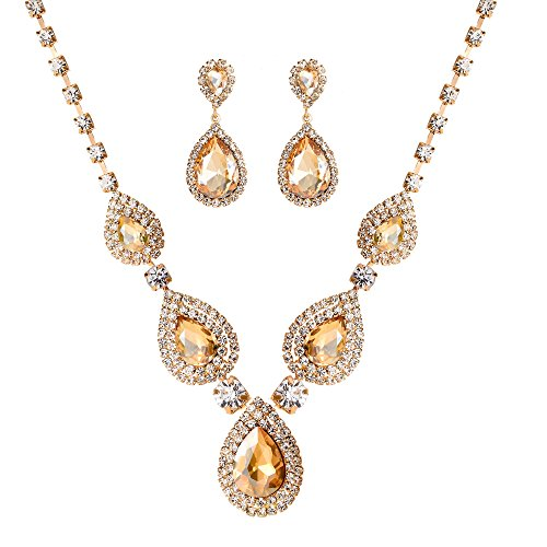 2 Pack Jewelry Sets Gift for Women Girls,Gold Plating Champagne Crystal Rhinestone Necklace Teardrop Dangle Earrings Set,Womens Bridal Wedding Bridesmaid Party Birthday Prom Jewelry Gift.