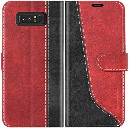 Mulbess Custodia per Samsung Galaxy Note 8, Cover a Libro Samsung Galaxy Note 8, Custodia in Pelle Samsung Galaxy Note 8 Flip Cover per Samsung Galaxy Note 8, Vino Rosso