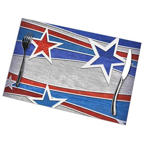 Patriotic Stars Strips Pattern Bedruckte Tischsets 6er-Set, Esstisch Waschbare Tischsets für Küchendekoration, 12 x 18 Zoll