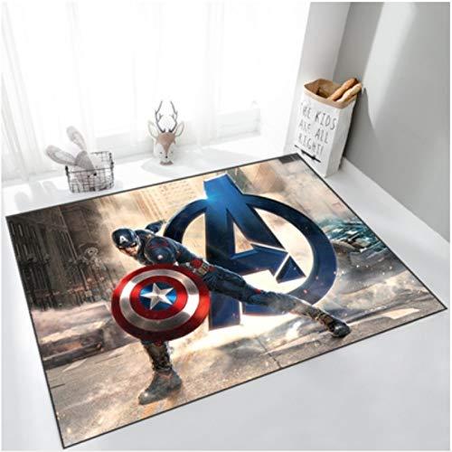 ZZXC Alfombra Dormitorio Habitación para Niños Habitación De Estudio Balcón Dibujos Animados Marvel Capitán América Moderno Patrón Simple Alfombra Rectangular Antideslizante para El Hogar