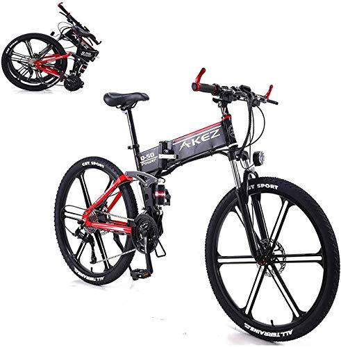Bici da neve elettrica, 26 in bicicletta elettrica per unisex con batteria al litio 350W 36V 8a piegatura elettrica mountain bike 27 velocità lega di