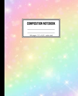Composition Notebook: Wide Ruled Rainbow Space Notebook