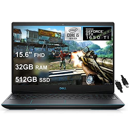 Flagship 2021 Dell G5 15 Gaming Laptop 15.6' FHD WVA Display 10th Gen Intel 4-Core i5-10300H (Beat I7-8850H) 32GB RAM 512GB SSD GeForce GTX 1650 Ti 4GB Backlit USB-C Win10 + iCarp HDMI Cable