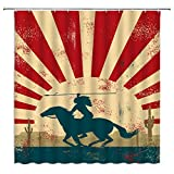 BCNEW Native American Shower Curtain Decor Vintage Indian Warrior Riding A Horse Cactus Bathroom Curtain Polyester Fabric Machine Washable with Hooks 70x70 Inches
