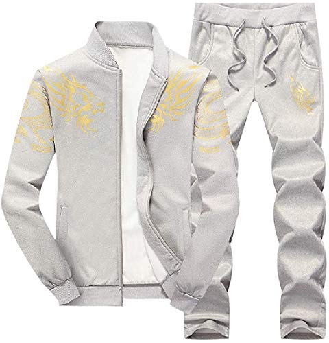 Men 2 Pieces Stand Collar Print Jacket and Gym Pants Tracksuit Set,Gray,US Large
