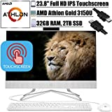 "2020 Flagship HP 24 All in One Desktop Computer 23.8"" FHD IPS Touchscreen Display AMD Athlon Gold 3150U 32GB DDR4 2TB SSD WiFi DVD AMD Radeon Graphics Keyboard and Mouse Win 10 + iCarp HDMI Cable"