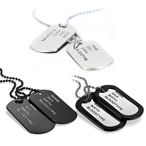 JewelryWe Schmuck 3pcs Herren Halskette, 2 Militärischen Erkennungsmarken Armee Stil Dog Tag Anhänger mit 70cm Kette, Silber Schwarz/Schwarz