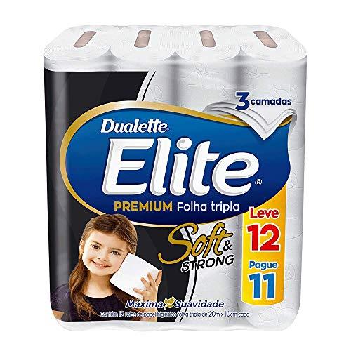 Papel Higiênico Elite Premium Folha Tripla Soft, 12 rolos
