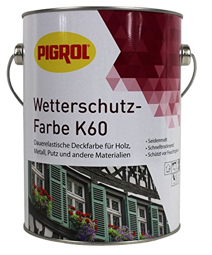 Pigrol Wetterschutzfarbe K60-2,5L - lichtgrau Holzfarbe Deckfarbe
