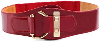 LUKEEXIN Female Coat Wide Leather Belt Ostrich Leather Elastic Jacket Waist Belt (Color : Red)