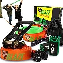 Complete Slackline Kit with Training Line - 60 ft Slack Line Longest Ever w/Tree Protectors Arm Trainer Ratchet Cover Ideal for Beginners Kids - Slack Lines for Backyard Ninja Tight Rope for Trees