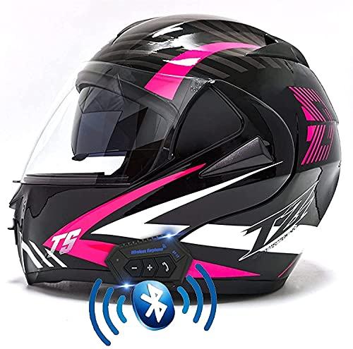 YSDKJ Motorbike Helmet ECE/Dot Aprobado 1500G Crash Cascos abatibles de Cara Completa Casco Bluetooth Moto Casco de Motocicleta con Cubierta para Lluvia Viseras antiniebla YSDKJ628(Color:A;Size:L)