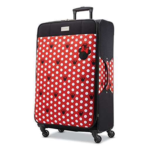 American Tourister Disney Softside Luggage with Spinner Wheels, Minnie Mouse Dots, Checked-Large 28-Inch