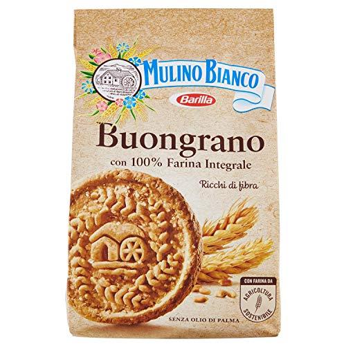Mulino Bianco Biscotti Buongrano con 100% Farina Integrale, Colazione Ricca di Fibre e Gusto, 350 gr