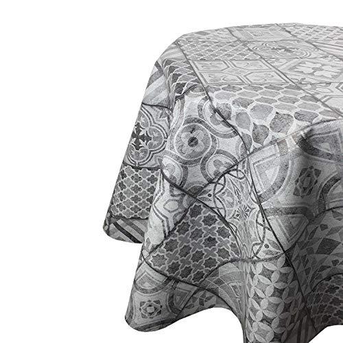 DecoHomeTextil Wachstuchtischdecke Wachstuch Tischdecke Gartentischdecke Rund Oval Keramik Grau Rund 100 cm abwaschbare Wachstischdecke