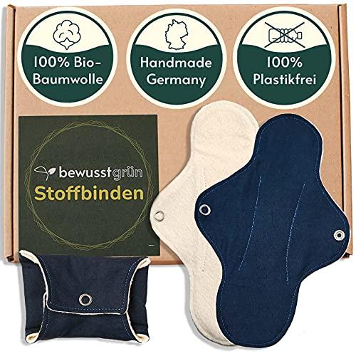 BewusstGrün I 3 extra-lange Bio Stoffbinden + Pflegeanleitung - 100% Bio-Baumwolle - Extra-Schutz und Komfort in der Periode, Waschbare Slipeinlagen Handmade in Germany