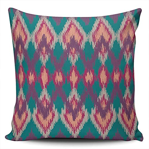 H.Slay Throw Pillow Cover Ikat Ethnic Geometric Rhombus para Sofá Dormitorio Coche 45 x 45 cm
