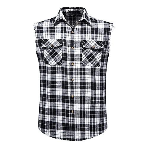 Camisa de verano para hombre, informal, a la moda, sin mangas, a cuadros, camisa de ocio, de algodón, sin mangas Negro XL