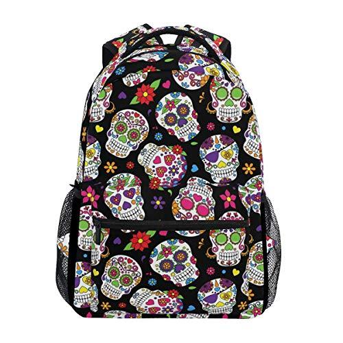 Mochila floral de calavera de azúcar tropical, para el verano, con diseño de calavera, bolsa de hombro para portátil y viaje, para hombres y mujeres