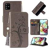 Miagon Portafoglio Flip Custodia per Samsung Galaxy Note 10 Lite,Carina Farfalla Albero Gatto Design PU Pelle Libro Stile Magnetica In piedi Funzione Cover,Grigio