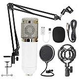 FHQCU Micrófono de Condensador, con Soporte NB35 para prevención de explosiones, Juego de micrófono cardioide Profesional de Estudio Blanco