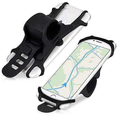 kwmobile Supporto Smartphone per Bici in Silicone - Sostegno Universale per Bicicletta MTB - Porta Cellulare per Display 4,5-6' - Nero