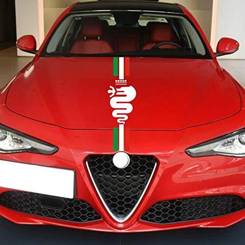 Auto Motorhaube Racing Stripes Grafik Aufkleber Abziehbilder Dekoration, für Alfa Romeo MiTo 147 156 159 166 Giulietta Giulia Stelvio Spider GT C4 8C Emblem (B)