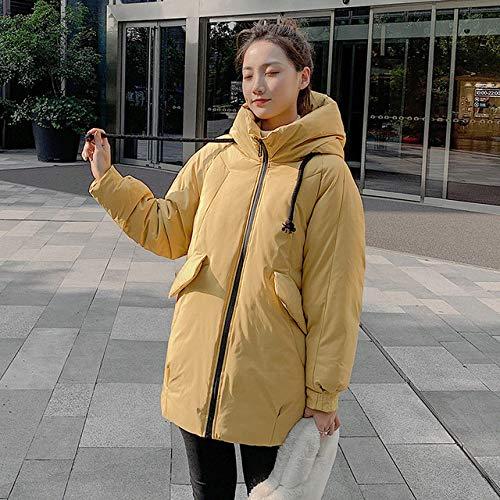 EIJFKNC Daunenjacke Mäntel Parkas Mujer Fashion Die Neue Jacke Damen Kapuzenjacke Winter Damen Oversize, gelb, L