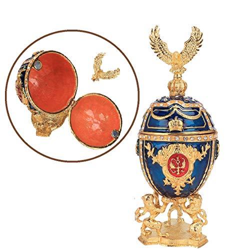 HEEPDD Pintado a Mano Esmaltado Huevo Faberge Chapado en Oro Diamantes Brillantes Joyero para Collar Pulsera Baratija Inicio Decoración de Escritorio Regalos