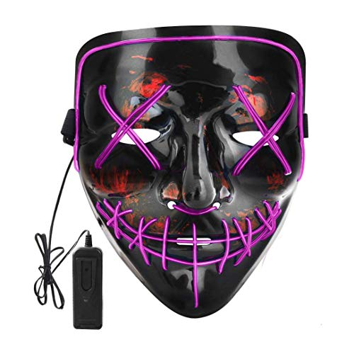 Digcreat Halloween Scary Mask Cosplay Led Costume Mask EL Wire Light up for Halloween Festival Party (Purple)