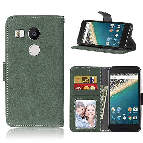Sangrl Lederhülle Schutzhülle Für LG Google Nexus 5X, PU-Leder Klassisches Design Wallet Handyhülle, Mit Halterungsfunktion Kartenfächer Flip Hülle Grün