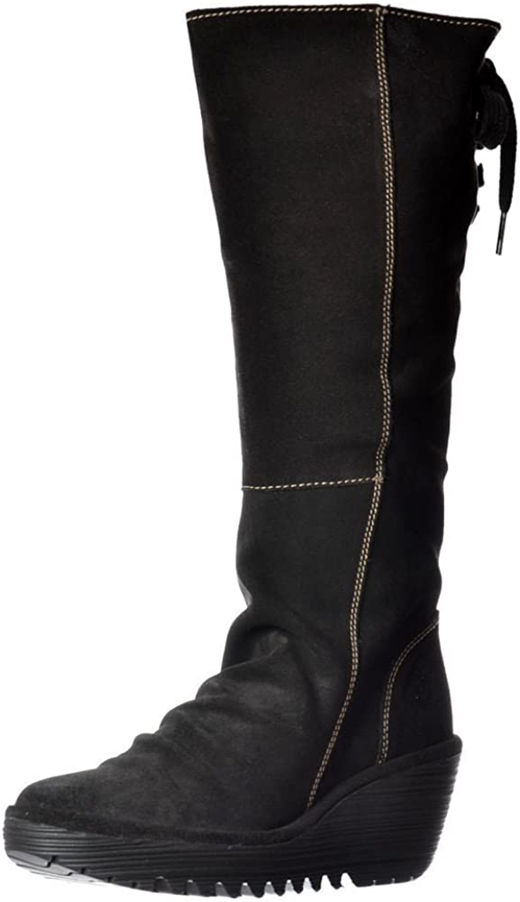 FLY London Yust Black Oil Suede Womens Knee Hi Wedge Shoes Boots