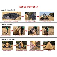 TentHome Waterproof Double Layers Teepee Tent Outdoor Camping 3.1M/10ft Family Tent Pyramids Indian Tent With fixed…