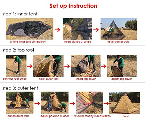 TentHome Waterproof Double Layers Teepee Tent Outdoor Camping 3.1M/10ft Family Tent Pyramids Indian Tent With fixed… 1