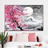 Gymqian Monte Fuji Flor de Cerezo Paisaje Japón Lienzo Pintura Pared Arte...
