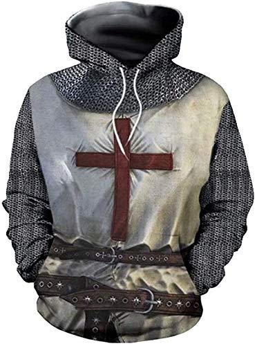 xHxttL Herren Mittelalterliche Templer Ritter Hoodie Sweatshirt Kostüm 3D-Druck Kreuzfahrer Ritter Kreuz Rüstung Cosplay Sweatshirt Langarm Pullover Hoodie Jacke Kleidung Phantasie Kostüm