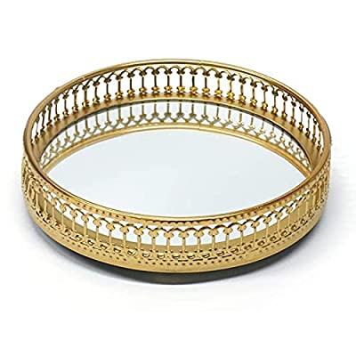 Homentum Vintage Gold Mirror Jewelry Tray Display Stand Tray Decorative Round Ring Case Key Holder Plate Round Tray for Bathroom Organizers Makeup Home Decor Gifts for Women Gold Bathroom Accessories