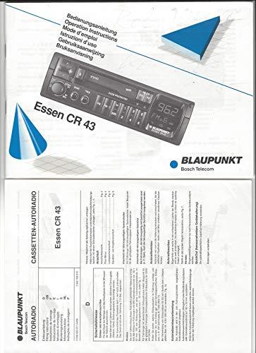 Bedienungsanleitung Blaupunkt Cassetten-Autoradio: ESSEN CR 43 + Faltblatt Einbauanleitung