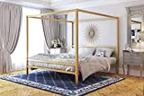 DHP Modern Canopy Bed with Built-in Headboard - King Size (Gold)