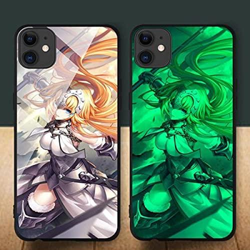 Carcasa de Telefono,Estuche para iPhone con Cordón Funda para Teléfono con Brillo Nocturno Anime 3D Serie Fate Carcasa de Vidrio Templado Antifricción Compatible con iPhone 6S