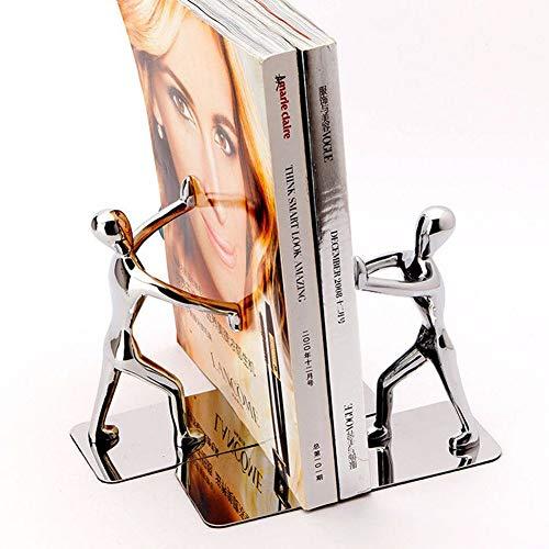 Fiona Buchstützen aus Edelstahl – strapazierfähige Kung Fu Man, rutschfeste humanoide Buchstützen für Zuhause, Büro, LBibliothek, Schule, dekorative Buchstützen, 1 Paar