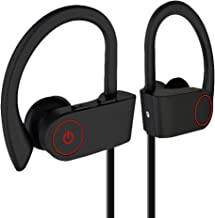 Bluetooth Headphones IPX7 Waterproof, Wireless Sport Earphones Bluetooth 4.2, HiFi Bass Stereo Sweatproof Earbuds W/Mic, Noise Cancelling Headset for Workout, Running, Gym, 7 Hours Play Time