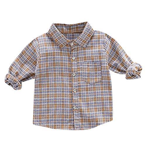 Livoral Kleinkind scherzt Baby-Lange Hülsen-Plaid-stattliche Herr-Hemd-Kleidung(#1 Kaffee,12-18 Monate)