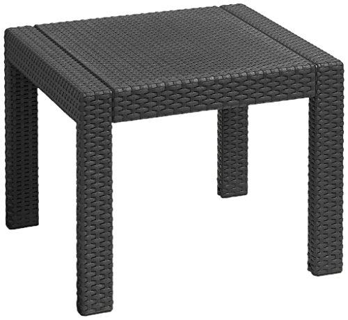 Allibert Victoria Plastic Table, Graphite/Cool Grey, 59x 59x 43cm, Wood-Effect Durable Plastic Garden Dining Table