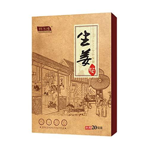 Zhoujinf 20 Stück chinesische Kräuter-Ingwer-Pflaster, Hals, Rücken, Gelenkschmerzlinderung, selbstklebend, Körper-Patch, 10 Stück