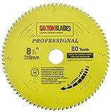 Saxton TCT21080TPRO Lame de scie circulaire de la gamme Pro TCT 210 mm x 80 dents x 30 mm alésage 16, 20, 25mm, 25,4mm Bagues de réduction compatibles avec Évolution Festool Bosch Makita Dewalt
