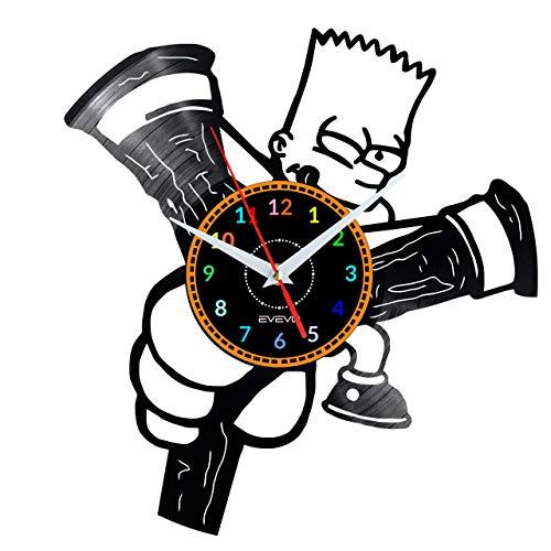 EVEVO BART Simpson The Simpson Wanduhr Vinyl Schallplatte Retro-Uhr groß Uhren Style Raum Home Dekorationen Tolles Geschenk Wanduhr BART Simpson The Simpson
